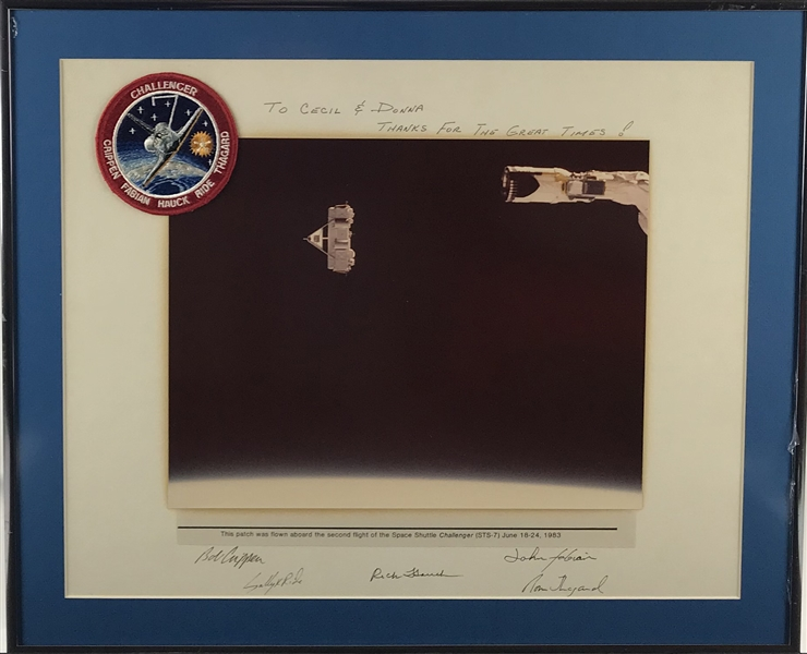 Challenger: STS-7 Crew Signed 16 x 20 Photograph w/ Flown Flight Patch! (Beckett/BAS Guaranteed)