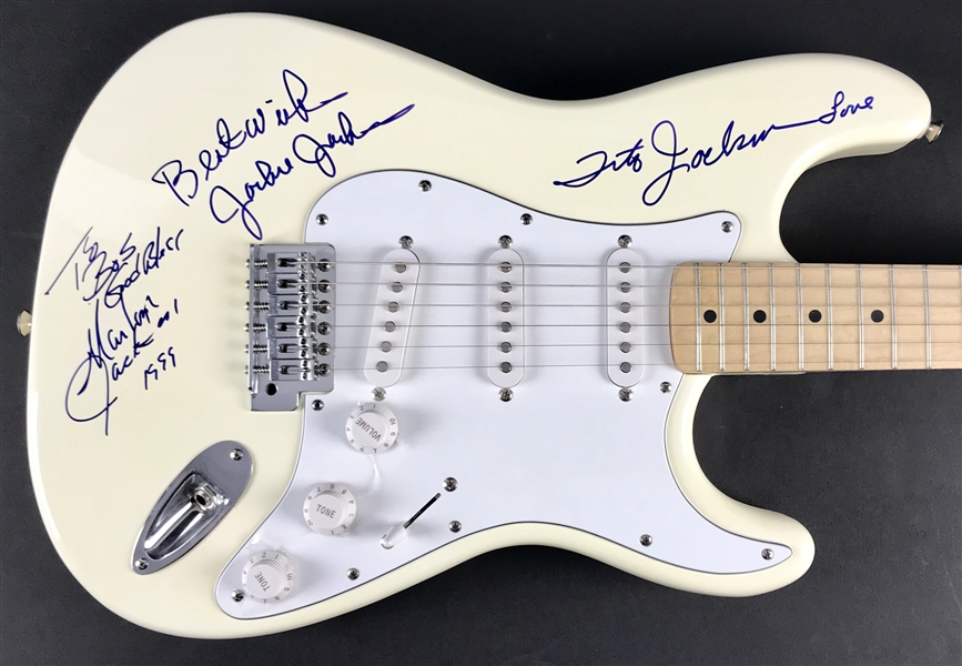 Jackson Five Group Signed Fender Stratocaster Guitar with Marlon, Tito & Jackie (Beckett/BAS Guaranteed)