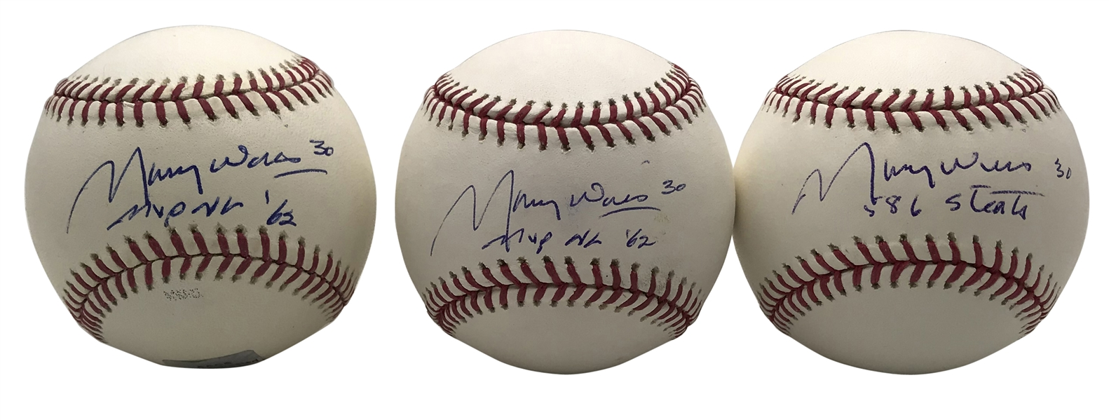 Maury Willis Lot of Five (5) Signed OML Baseballs (Beckett/BAS Guaranteed)