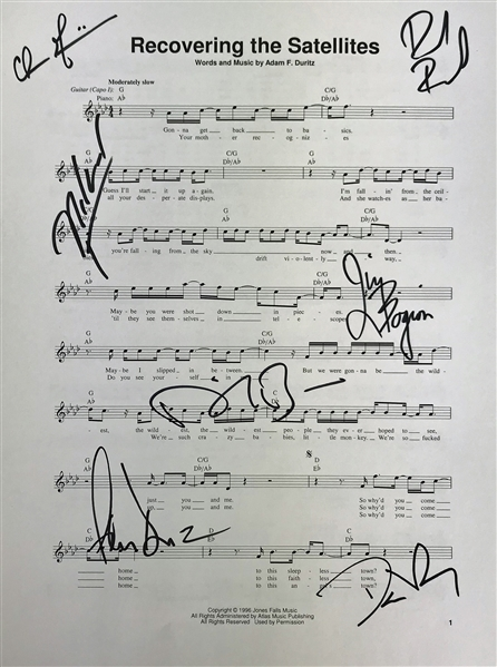 Counting Crows Group Signed Recovering the Satellites 9 x 12 Music Sheet (Beckett/BAS Guaranteed)
