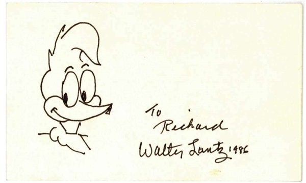 Walter Lantz Signed & Hand Drawn Woody the Woodpecker Sketch! (Beckett/BAS)