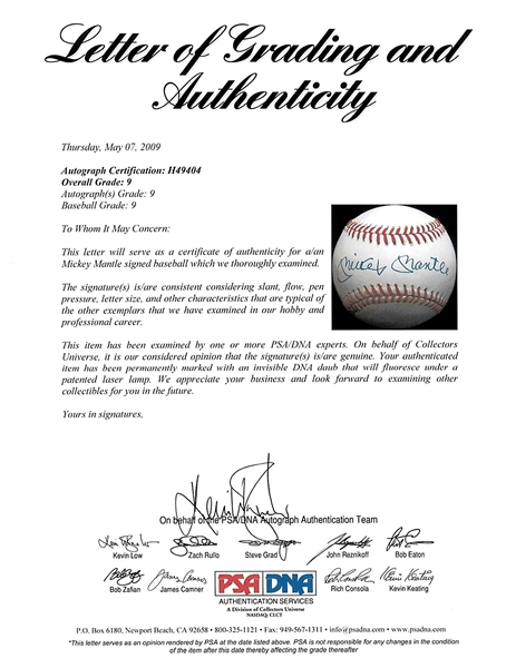 Mickey Mantle Signed OAL Baseball - Graded MINT 9 by PSA/DNA!
