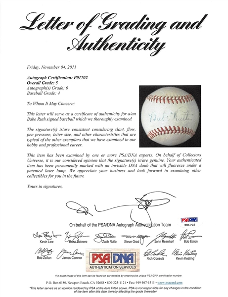 Babe Ruth Single Signed OAL Baseball with PSA Graded 6 Autograph (Beckett/BAS Encapsulated & PSA/DNA)