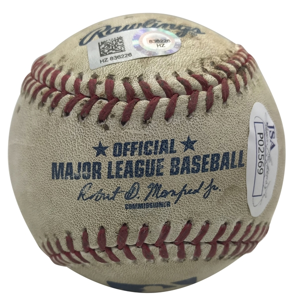 Corey Seager Signed & Game Used OML Baseball from 9-18-15 Game vs. PIT :: Seager's 1st Dodger Stadium HR! (JSA & MLB Holo)