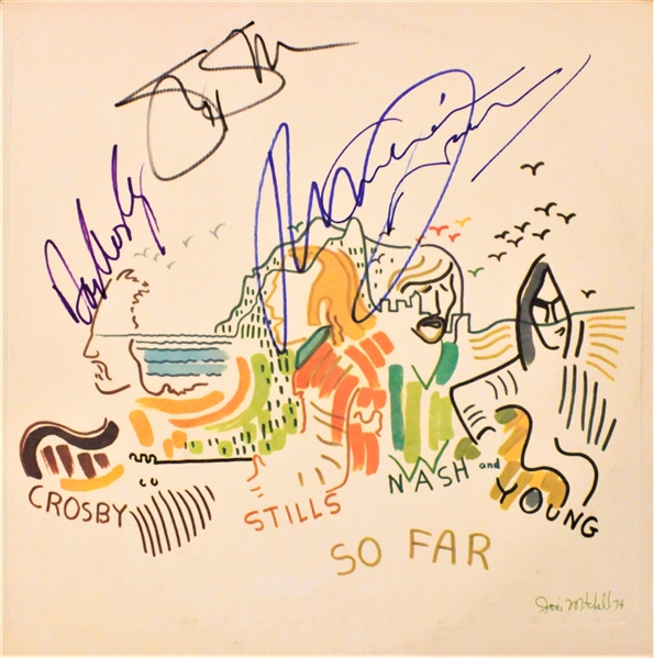 Crosby, Stills, Nash & Young Complete Signed So Far… Record Album Cover (Beckett/BAS Guaranteed)