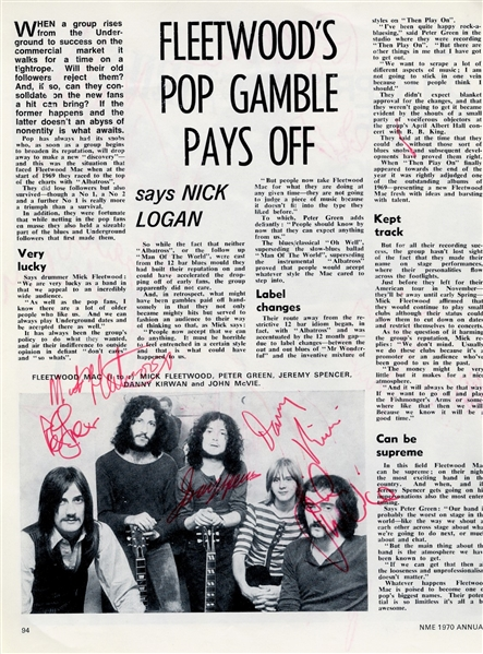 Fleetwood Mac EARLY c. 1970 Twice-Signed Magazine Page w/ RARE Original Lineup incl. Peter Green (Beckett/BAS Guaranteed)