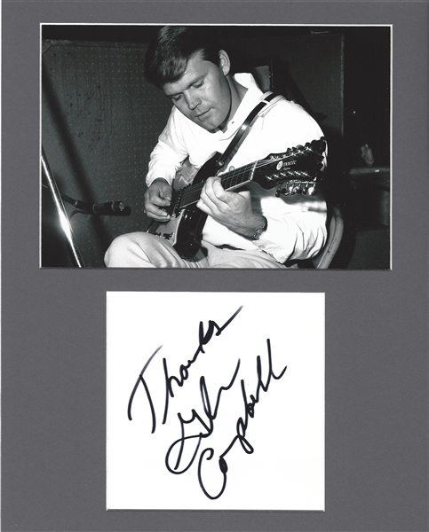 Glenn Campbell Signed Album Page in Matted Display (Beckett/BAS Guaranteed)