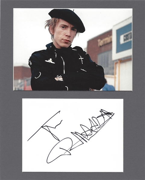 Johnny Rotten Signed Album Page in Matted Display (Beckett/BAS Guaranteed)