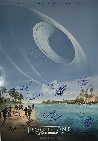 Star Wars: Rogue One Cast Signed 24 x 36 Double Sided Poster w/ 12 Signatures! (Beckett/BAS)