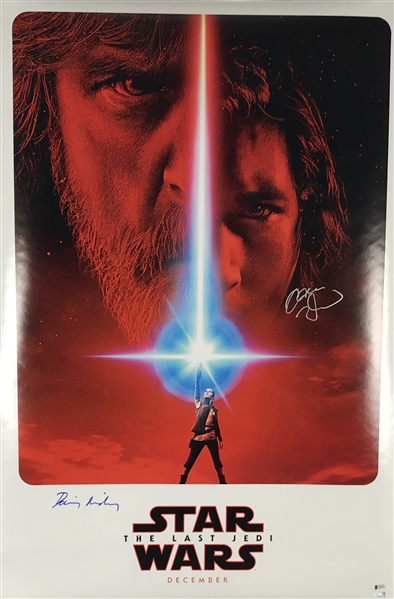 Star Wars: The Last Jedi Signed 24 x 36 Movie Poster w/ Daisy Ridley & Adam Driver! (Beckett/BAS)