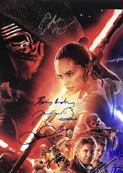 Star Wars: The Force Awakens Cast-Signed 24 x 36 Movie Poster w/ Ford, Ridley, Fisher, & More! (Beckett/BAS Guaranteed)