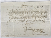 "Ferdinand and Isabella Signed 6"" x 8.5"" Spanish 1496 Letter, One of the Finest to Surface! (Beckett/BAS Guaranteed)"