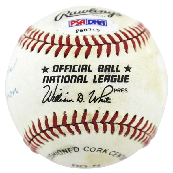 Hank Aaron Vintage Signed ONL (White) Baseball w/ Rare Best Wishes Inscription! (PSA/DNA)