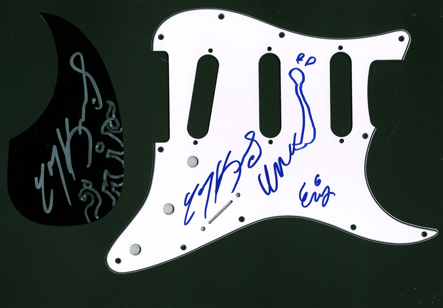 Lot of 2: Meat Puppets Signed Pickguards w/ Rare All 3 Original Members (Beckett/BAS Guaranteed)