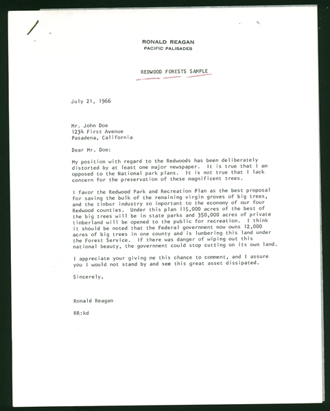 Ronald Reagan Handwritten & Signed 1966 Pacific Palisades Letter (PSA/DNA)
