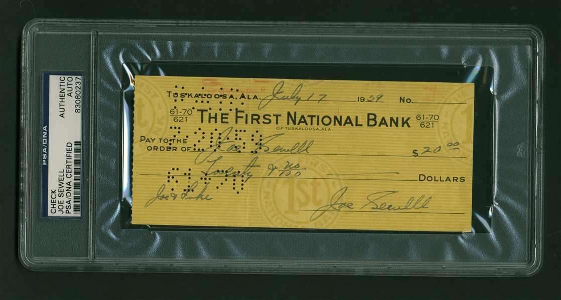 Joe Sewell Near-Mint Signed & Handwritten 1939 Personal Bank Check (PSA/DNA Encapsulated)
