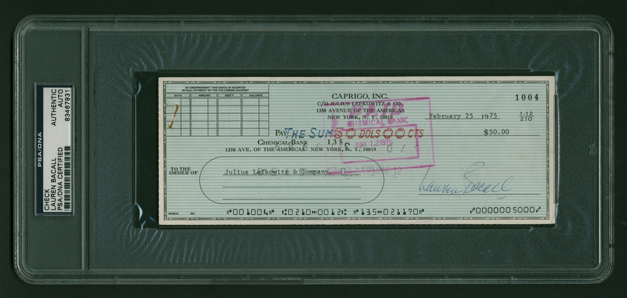 Lauren Bacall Signed 1975 Personal Bank Check (PSA/DNA Encapsulated)