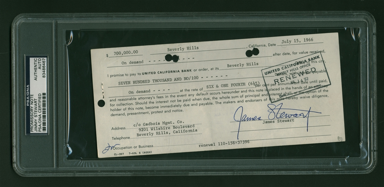 Jimmy Stewart Signed $700,000 Promissory Note (PSA/DNA)