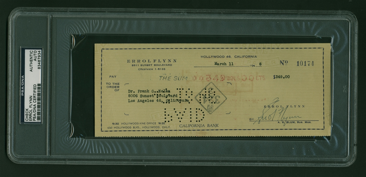 Erroll Flynn Signed Personal Bank Check (1946) (PSA/DNA Encapsulated)