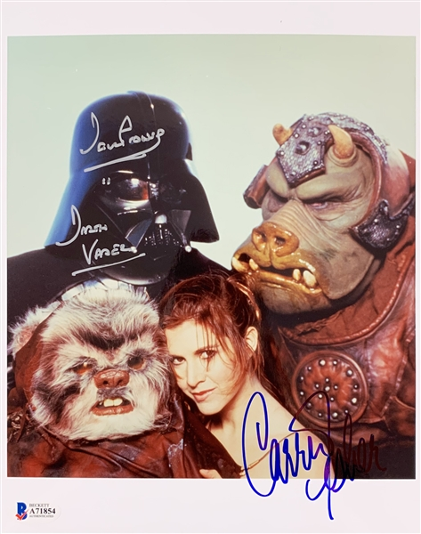 Star Wars: Carrie Fisher & David Prowse Signed 8 x 10 Color Photo from Rolling Stone Return of the Jedi Photo Shoot (Beckett/BAS LOA)