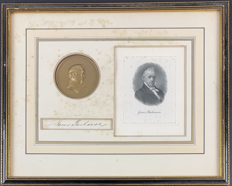 James Buchanan Signed Document Clipping in Custom Framed Display (Beckett/BAS LOA)