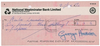 The Beatles: George Harrison Signed 1970 Bank Check (Beckett/BAS)