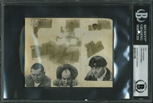 "The Three Stooges Vintage Group Signed 4"" x 5"" Album Page w/ Moe, Curly & Larry (BAS/Beckett Encapsulated)"