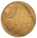 Lou Gehrig Single Signed Game Used ONL Baseball c. 1926-33 (JSA)