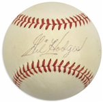 Gil Hodges Rare Single Signed ONL Baseball w/ Rare Sweet Spot Autograph! (PSA/DNA)
