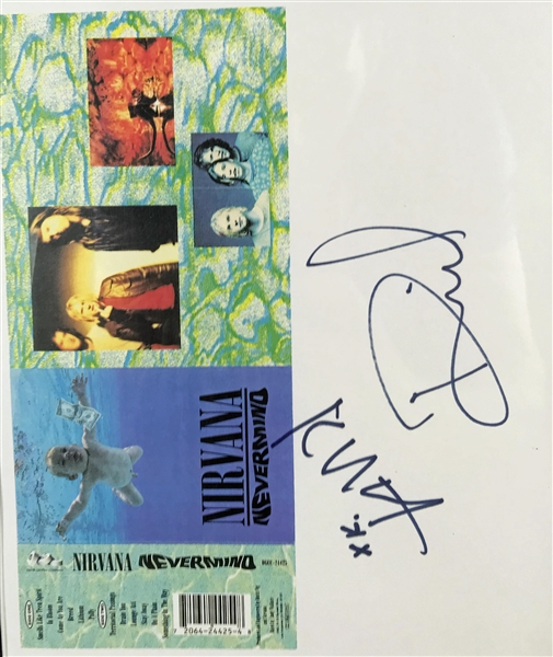 Nirvana Group Signed 9.5 x 8 Nevermind Cassette Artwork Sheet w/ Cobain, Grohl & Novoselic! (PSA/DNA)