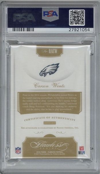 Carson Wentz Signed 2016 Panini Flawless L.E. Rookie Card - PSA MINT 9 w/ 10 Auto!