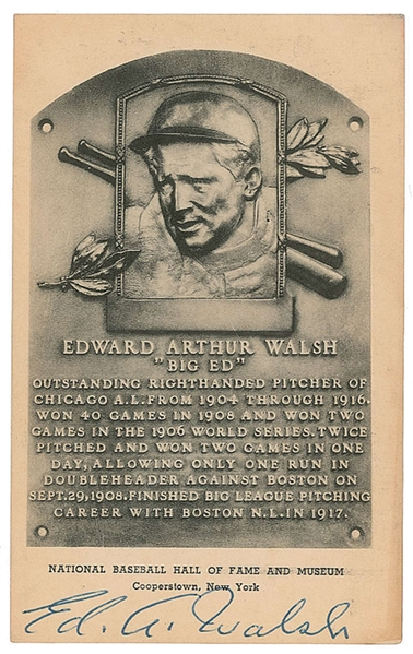 Ed Walsh Rare Signed Hall of Fame Plaque Card (Beckett/BAS)