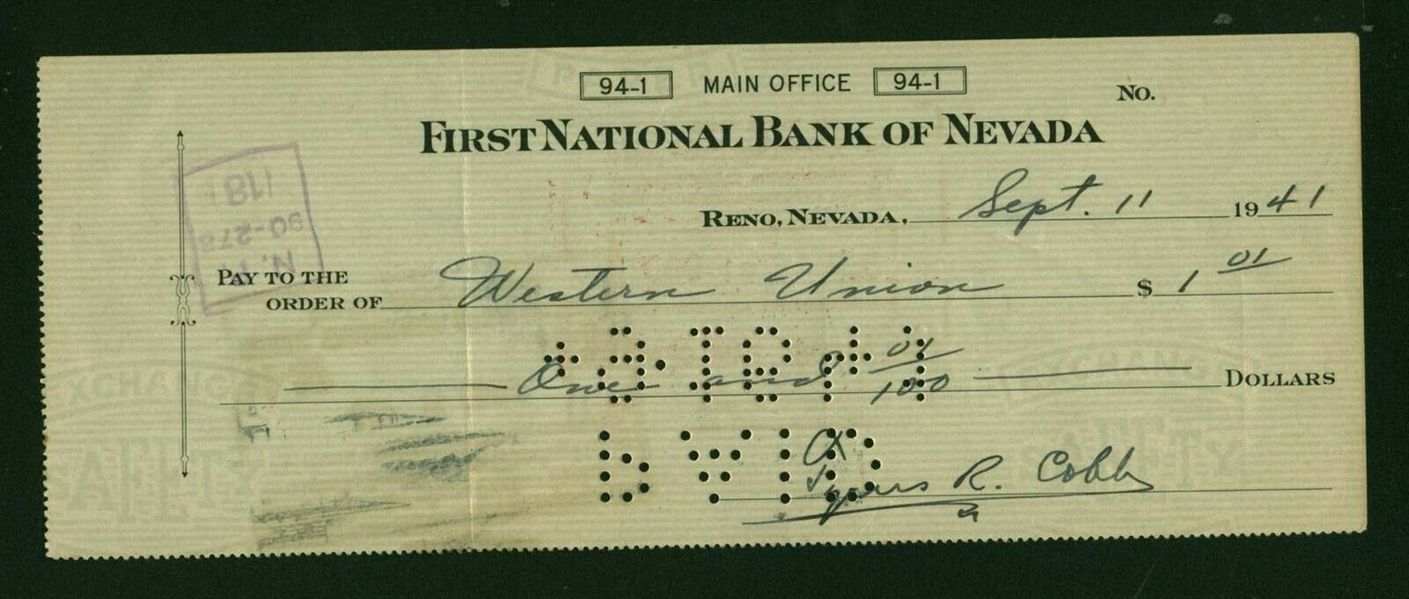 Ty Cobb Signed 1941 Personal Bank Check (Beckett/BAS)