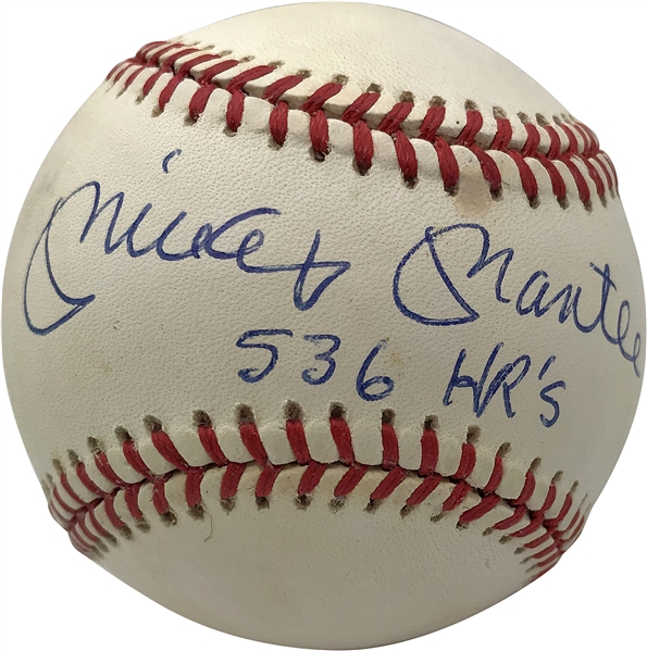 Mickey Mantle Superbly Signed OAL Baseball w/ 536 HR's Inscription! (PSA/DNA)