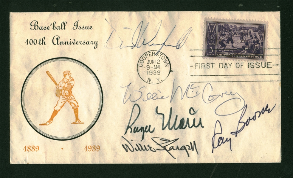 RBI Leaders Multi-Signed First Day Cover w/ Maris, Stargell & Others (SGC)