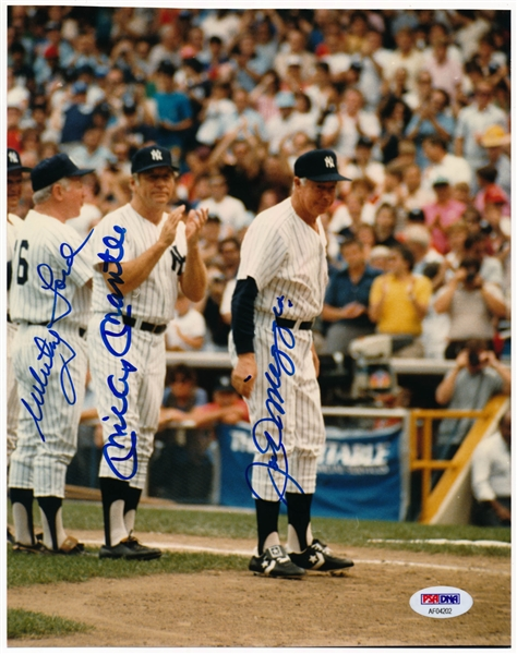 Joe DiMaggio, Mickey Mantle & Whitey Ford Multi-Signed 8 x 10 Photograph (PSA/DNA GEM MINT 10)