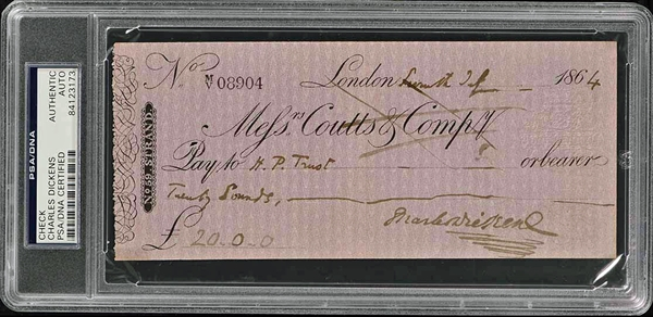 Charles Dickens Signed 1864 Personal Bank Check (PSA/DNA Encapsulated)