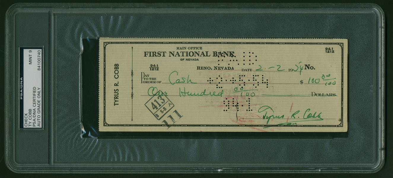 Ty Cobb Signed 1954 Personal Bank Check (PSA/DNA MINT 9!)