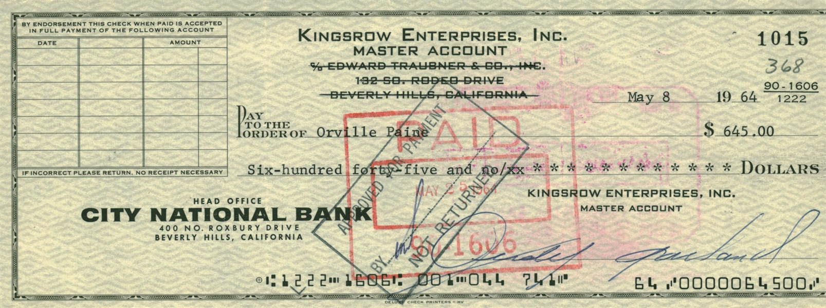 Judy Garland Signed 1964 Personal Bank Check (Beckett/BAS)