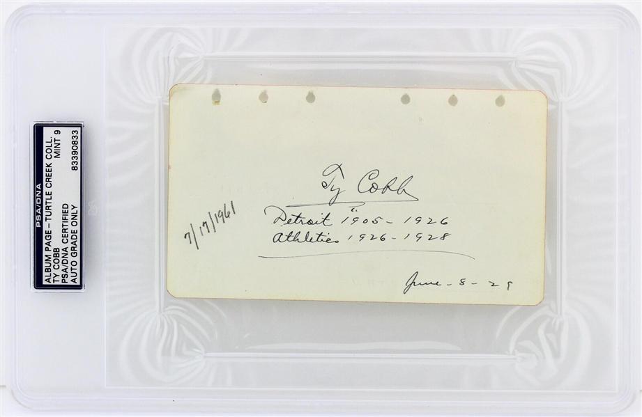 Ty Cobb Beautifully Signed & Stat Inscribed 4 x 6 Album Page c. 1929 (PSA/DNA Graded MINT 9)