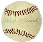 Roberto Clemente ULTRA-RARE Single Signed Rookie-Era (Giles) ONL Baseball on Sweet Spot (PSA/DNA)