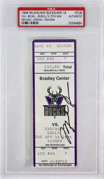 Michael Jordan Signed 1996 Ticket Stub for Record Breaking 70th Win Game (PSA/DNA Encapsulated & UDA)
