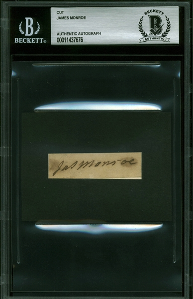 President James Monroe Signed Document Segment (Beckett/BAS Encapsulated)