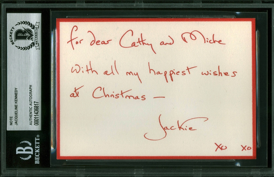 Jacqueline Kennedy Rare Handwritten & Signed Christmas Note (Beckett/BAS Encapsulated)