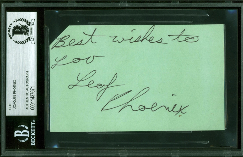 Joaquin Phoenix Signed 3 x 5 Index Card w/ Rare Leaf Phoenix Autograph (Beckett/BAS Encapsulated)