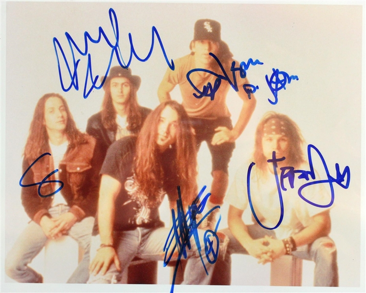 Pearl Jam Vintage Group Signed Color Photograph w/ All Five Members! (Beckett/BAS Encapsulated)