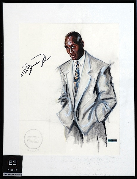 Michael Jordan Signed One-of-a-Kind Bigsby & Kruthers Framed Sketch Used for 23 Night and Day Clothing Line & Display in Jordan's Chicago Restaurant! (UDA)