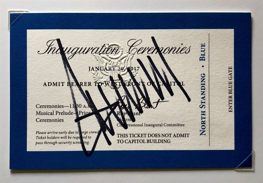 President Donald Trump Signed 2016 Presidential Inauguration Ticket (Beckett/BAS)
