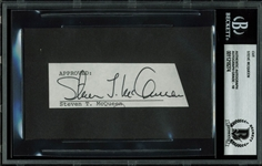 "Steve McQueen Vintage Signed 1"" x 3.75"" Document Clipping (Beckett/BAS Graded GEM MINT 10)"