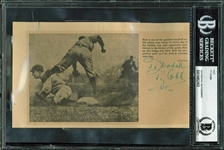 "Ty Cobb Signed 4"" x 7"" Charles Conlon Newspaper Photograph (BAS/Beckett Encapsulated)"